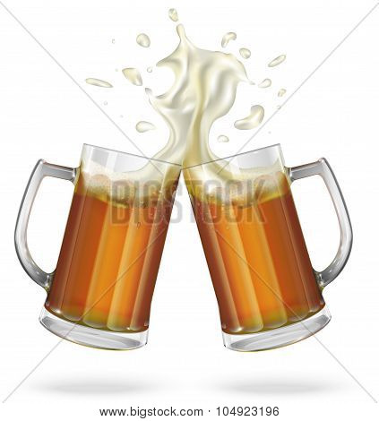 Two mugs with ale, light or dark beer. Mug with beer.