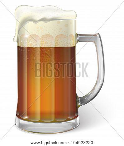 Mug of ale. Dark beer. Vector