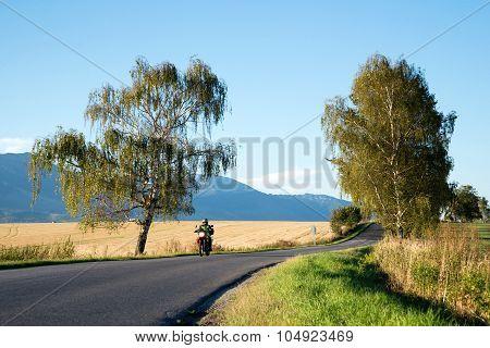 biker going to High Tatra mountains