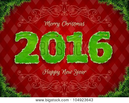 New Year 2016 Of Crumpled Paper Pinned Pin