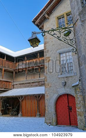 Inner Courtyard Of The Medieval Castle Of Gruyeres In Switzerland