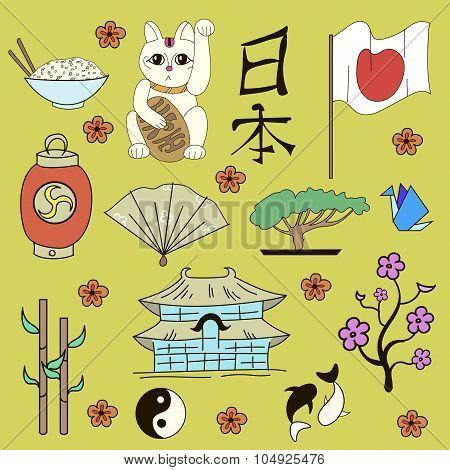 Seamless Japanese symbols yellow background