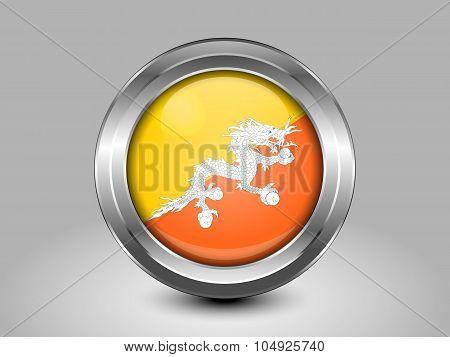 Flag Of Bhutan. Metal Round Icon