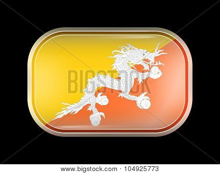 Flag Of Bhutan. Rectangular Shape With Rounded Corners