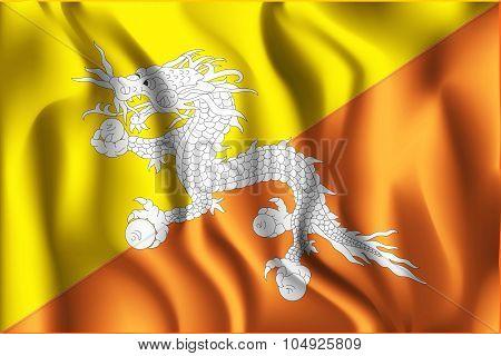 Bhutan Variant First Flag. Rectangular Shape Icon