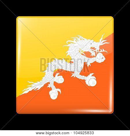 Flag Of Bhutan. Glassy Icon Square Shape