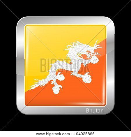 Flag Of Bhutan. Metalic Icon Square Shape