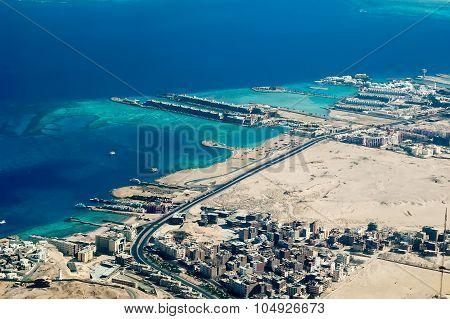 Aerial view onto Hurghada Coast. Egypt