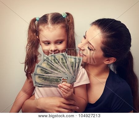 Happy Casual Family Holding Dollars And Thinking How To Spend The Money. Vintage Portrait