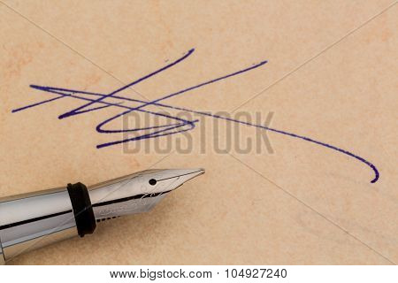 an agreement or document shall be signed by hand with a fountain pen.