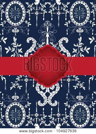 Vintage invitation card with ornate elegant abstract design, white on blue with red ribbon. Vector illustration.