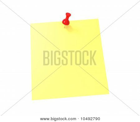 Yellow sticky note with red push pin