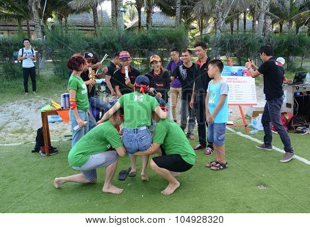 Young People Playing A Team Sport Game