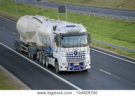 White Mercedes-Benz Arocs For Cement Haul On Motorway