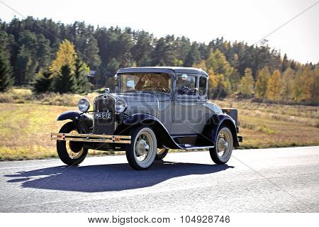Ford 2D Standard Couple A/2640 Antique Car Year 1930 On The Road