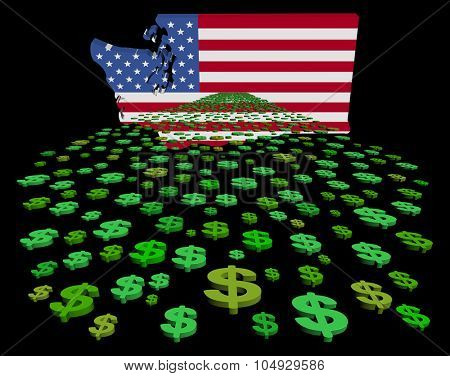 Washington map flag with abstract dollars illustration