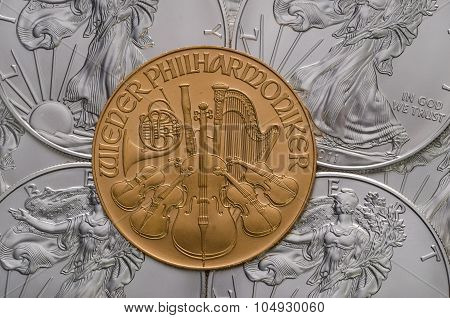 Austrian Gold Philharmonic Ontop Of Us Silver Eagles