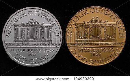 Austrian Silver Philharmonic Vs. Austrian Gold Philharmonic On Black Background