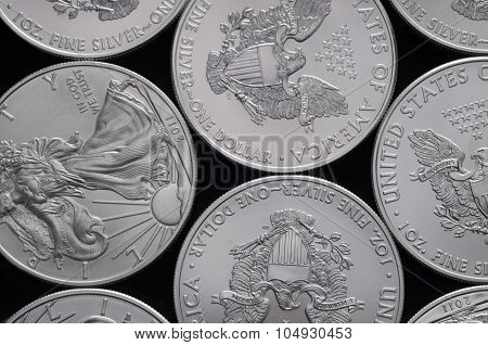 Bed Of United States (us) Silver Eagle Coins