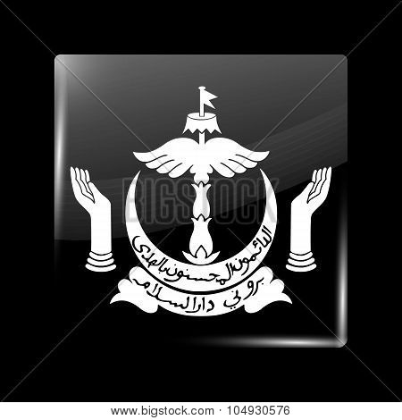 Brunei Coat Of Arms. Glassy Icon Square Shape