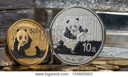 Chinese Gold Panda Vs. Silver Panda With Silver Bars