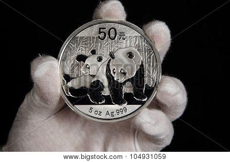 Chinese Panda Silver Coin White Glove