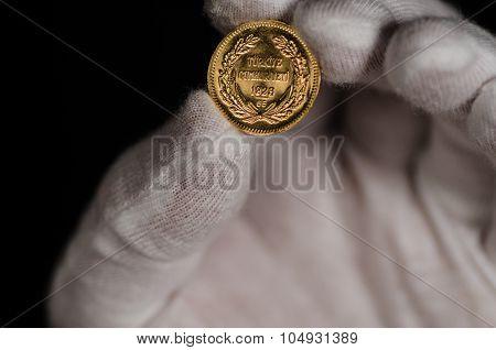 Kurush Ataturk Gold Coin Held With White Glove