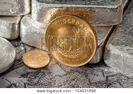 South Africa Gold Coin Kugurand With Silver Bars