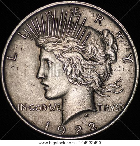 The United States Silver Peace Dollar (obverse)