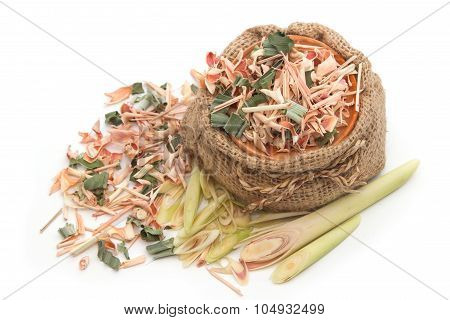Portion Of Fresh And Dried Lemon Grass (cooking Ingredients), Herb And Spice