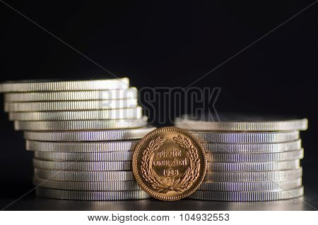 Turkish Kurush Ataturk Gold Coin In Front Silver Coins