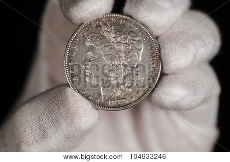 Us Morgan Silver Dollar Coin Hand Held