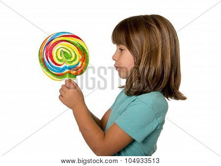 Child Eating Big Lollipop Candy Isolated On White Background In Children Love Sweet Sugar Concept