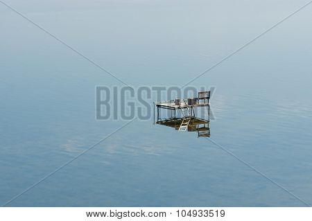 Equipped place for fishing on a Dnepr river