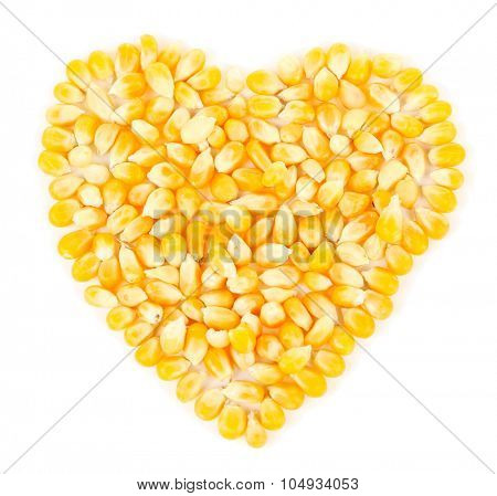 Heart shaped corn beans isolated on white