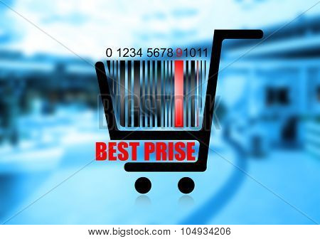 Shopping basket with bar code, on abstract background, vector image