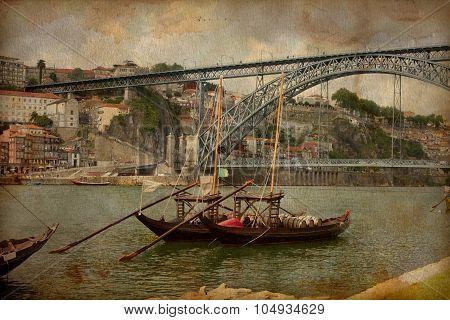 Porto, Portugal cityscape on the Douro River, Vintage image