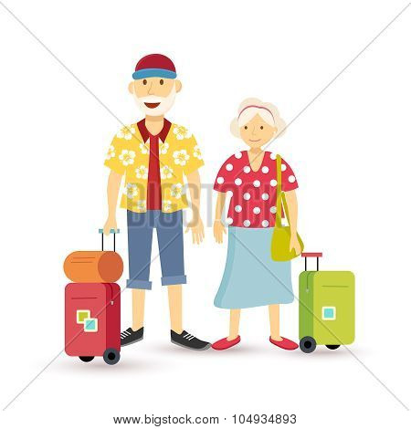 Old Couple Summer Holiday Grandparent Travel Flat