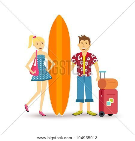 Happy Couple Young Surf Holiday Summer Travel