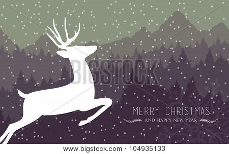 Merry Christmas Happy New Year Holiday Card Deer