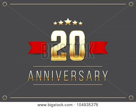 Twenty years anniversary celebration logotype. 20th anniversary logo.