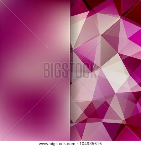 Abstract Background Consisting Of Pink, Purple Triangles And Matt  Glass,