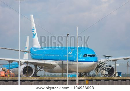 Klm Airplane At Amsterdam Schiphol Airport