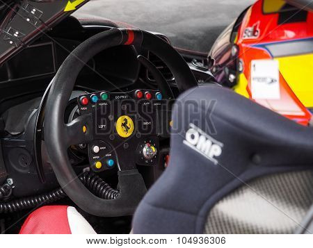 Race Ferrari's Steering Wheel Close Up