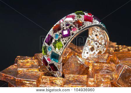 Multicolor Gem Bracelet On Black Background