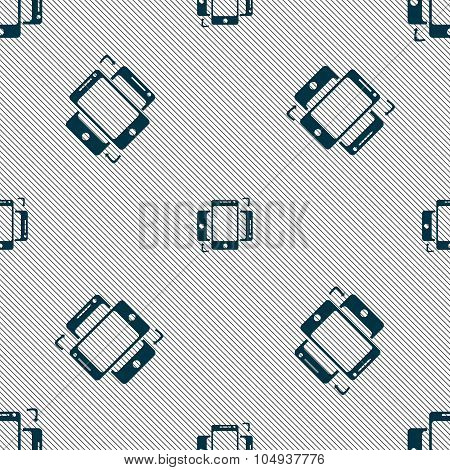 Synchronization Sign Icon. Smartphones Sync Symbol. Data Exchange. Seamless Pattern With Geometric T