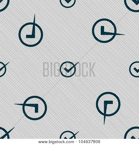 Check Mark Sign Icon. Checkbox Button. Seamless Pattern With Geometric Texture. Vector