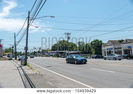 View of High Ridge Road in Stamford CT