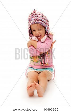 Happy Girl With Hat On White