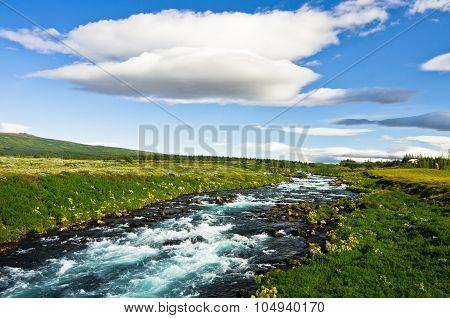 Glacial river near Gullfoss waterfall
